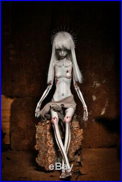 1/4 BJD Girl Doll Bare Unpainted Doll Skeletons + Helmet without Any Makeup