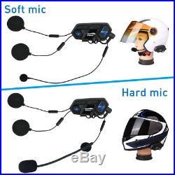 2Pcs 2000M 8 Riders Intercom Bluetooth Motorcycle Helmet Interphone Headset M1-S