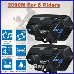 2X 2000M Motorcycle Helmet Intercom Interphone Bluetooth Communication System UK