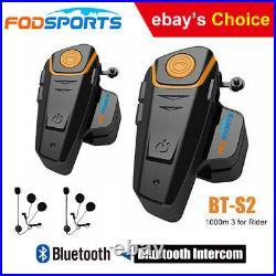 2X BT-S2 Motorcycle Helmet Intercom Bluetooth Rider Headset 1000M FM Interphone