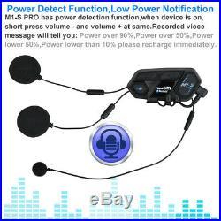 2x 2000M Motorcycle Helmet Intercom M1-S Bluetooth Interphone Headset 8 Rider UK