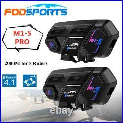 2x M1-S Pro 2000M 8 Rider FODSPORTS Motorcycle Intercom Bluetooth Helmet Headset