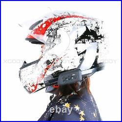 4X Bluetooth Motorcycle Helmet Intercom Waterproof Motorbike 1200m 6 Riders UK