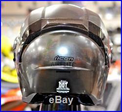 Ai Robot Terminator T2 T5 Chrome Mirrored Icon Airflite Quicksilver Crash Helmet