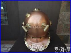Antique Diving Helmet U. S Navy Anchor Engineering Divers Helmet Deep Sea Replica