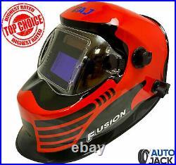 Autojack Gasless MIG Welder 130 Amp with Red Auto Darkening Lens Welding Helmet