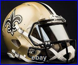 CUSTOM NEW ORLEANS SAINTS Full Size NFL Riddell SPEED Football Helmet