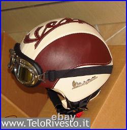 Casco Vespa Vintage retrò personalizzato in pelle panna marrone S, M, L, XL