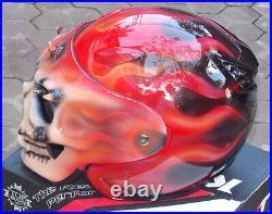 Custom Motorcycle Helmet Skull Skeleton Death Flames Ghost Rider Visor DOT