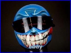 Custom airbrushed Matrix Alpha fibreglass helmet design bandit Simpson style