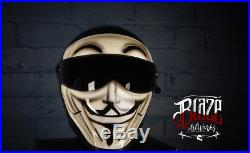 Custom painted Vendetta Matrix Street Fx Motorcycle helmet, Simpson bandit Style