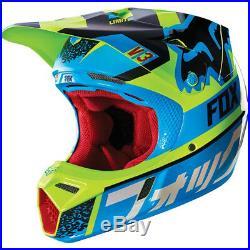 FOX V3 DIVISION MOTOCROSS MX HELMET BLUE / YELLOW enduro bike mtb bmx MIPS
