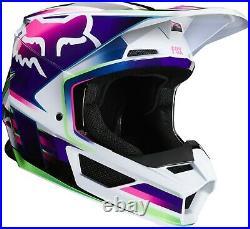 Fox V1 Gama Adult Off Road MX Motocross Helmet White / Blue / Purple