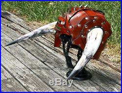 Horned Leather Half Helmet Fantasy Armor Motorcycle Norse Helm Cosplay Medieval