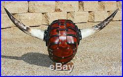 Horned Leather Viking Spectacle Helmet Fantasy Mask Armor SCA LARP Helm Norse