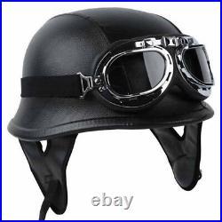 Leather Motorcycle Half Face Helmet DOT German Biker Pilot Goggles XL Black