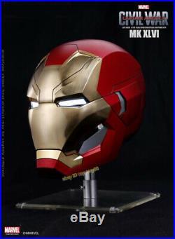Marvel Captain America Civil War 1/1 Iron Man MK46 Helmet Automatic On-off Prop