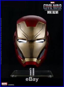 Marvel Captain America Civil War Iron Man Mark XLVI 46 1/1 LED Motorized Helmet