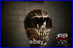 Matrix StreetFX Custom Airbrushed helmet In Ghost Skull Design Bandit Style