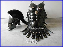 Medieval Spartan Helmet King Leonidas 300 Movie Replica + Muscle Jacket Black