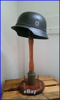 Military helmet stick grenade lamp. Wehrmacht waffen german stahlhelm pistol