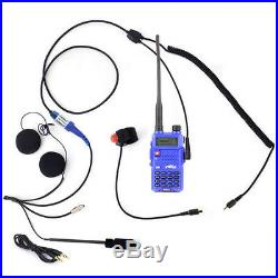 Motorcycle Helmet Two Way Communication Kit with Dual Band Radio PTT Speakers Mic