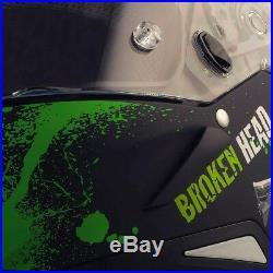 Motorradhelm Broken Head Jack S. Grün SET + gratis grün verspiegeltes