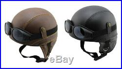 Motorradhelm Chopper Vespa Mofa Motorrad Jet Helm Leder Classic + Brille Gr. S-XL