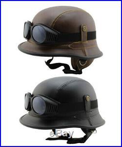 Motorradhelm Chopper Vespa Mofa Motorrad Jet Helm Leder Wehrmacht Halbschale