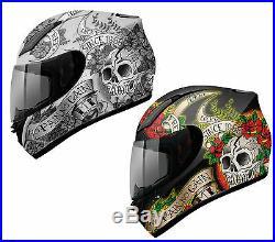 Mt Revenge Skull & Roses Full Face Motorcycle Motorbike Crash Helmet Acu Gold