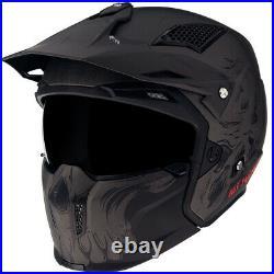 Mt Streetfighter Darkness Matt Black Grey Modular Motorcycle Motorbike Helmet