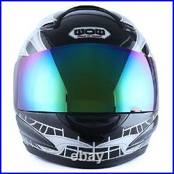 NEW DOT Motorcycle Full Face Helmet Street Bike White Skull Flame Black S M L XL