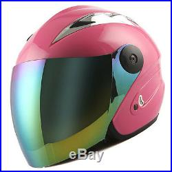 NEW Motorcycle Open Face Helmet Pink Racing Style Lens Color Clear / Tinted