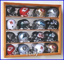 NFL MLB 16 Mini Football Helmet Display Case Cabinet Wall Rack Box Lockable