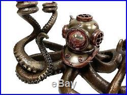 Nautical Steampunk Octopus Candelabrum Diving Helmet Candle Holder Statue Bronze