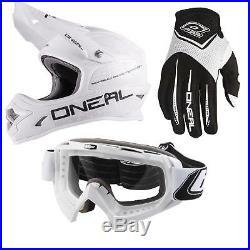 ONeal 3Series Flat Moto Cross MX Helm Schwarz Weiß Goggle Brille Handschuhe