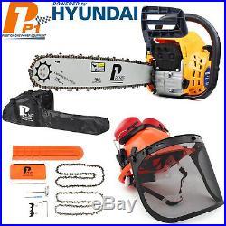 P1PE Petrol Chainsaw 62cc 20 bar + CHAINSAW HELMET & EAR DEFENDERS Bundle