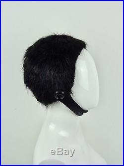 PRADA F/W 2011 Black Fur Aviator Helmet HAT XS NWT