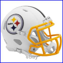 Pittsburgh Steelers Full Size White Matte Speed Replica Helmet New In Box 25832