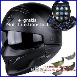 SCORPION EXO-COMBAT SOLID schwarz matt Helm Modular Motorrad bzw. Visierauswahl