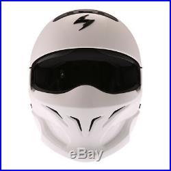 Scorpion EXO Combat Jet Motorcycle Helmet Motorbike Transformer Open White J&S