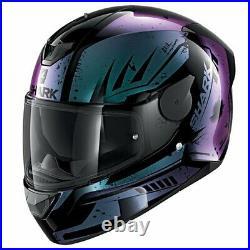 Shark D-Skwal 2 Dharkov Motorcycle Full Face Helmet KVX Iridescent Black Violet