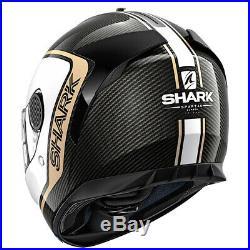 Shark Spartan Carbon Priona Motorcycle Helmet Black / White FREE DARK VISOR
