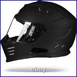 Simpson Venom Solid Matte Flat Black Motorcycle Streetfighter Helmet Free P&P