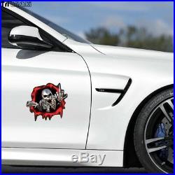 Skull Skeleton Sticker, Car, Motorbike Helmet Motorcycle Scary Middle Finger -UK