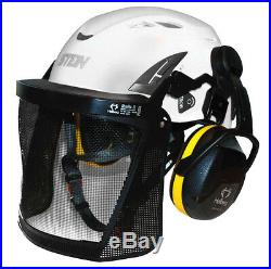Stein Kask Super Plasma PL Tree Climbing Helmet Kit, Ear Defenders & Visor WHITE