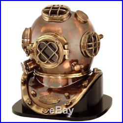 U. S. Navy Mark V Replica 1952 Diving Divers Helmet With Wooden Rosewood Base
