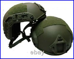 UHMW-PE BALLISTIC IIIA BULLET PROOF HELMET Size M and L BLACK/ARMY GREEN/Sand
