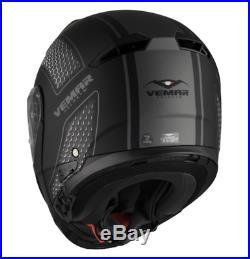 Vemar Sharki Hive Flip Up Front Motorcycle Motorbike Helmet Matt Black / Grey