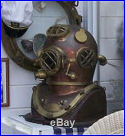 Vintage Brass & Copper Diving Helmet Table Divers Decor Scuba SCA US Mark V Navy